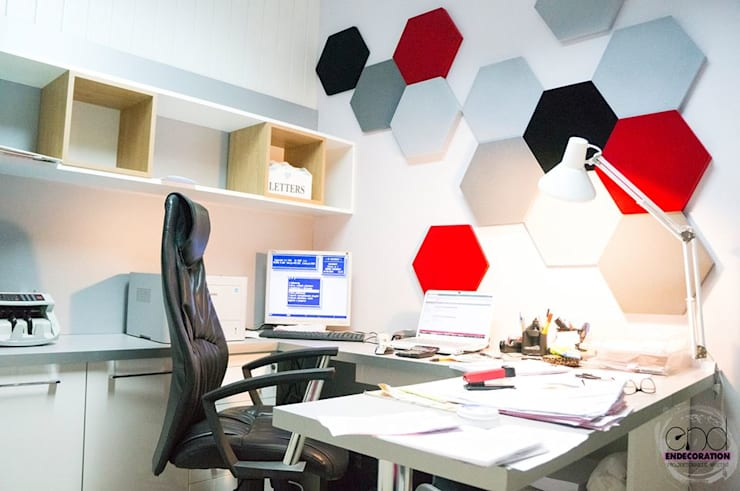 Panele Hexa w biurze. : styl , w kategorii  zaprojektowany przez FLUFFO fabryka miękkich ścian