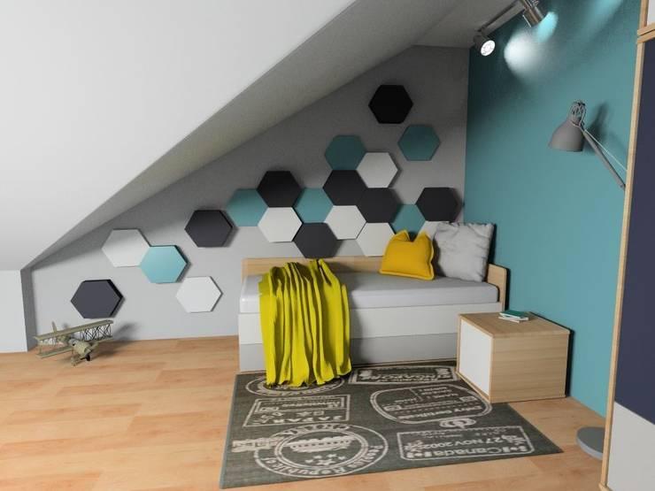 Pokój młodzieżowy. Panele Hexa. : styl , w kategorii  zaprojektowany przez FLUFFO fabryka miękkich ścian
