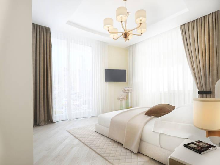 Белый интерьер Спальня в стиле минимализм от Tatiana Zaitseva Design Studio Минимализм