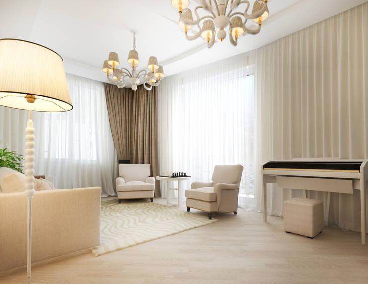 Белый интерьер Гостиная в стиле минимализм от Tatiana Zaitseva Design Studio Минимализм