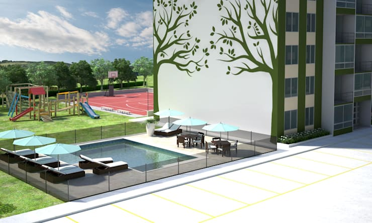 Casa Bifamiliar: Jardines de estilo  por OM ARQUITECTURA & SERVICIOS S.A.S