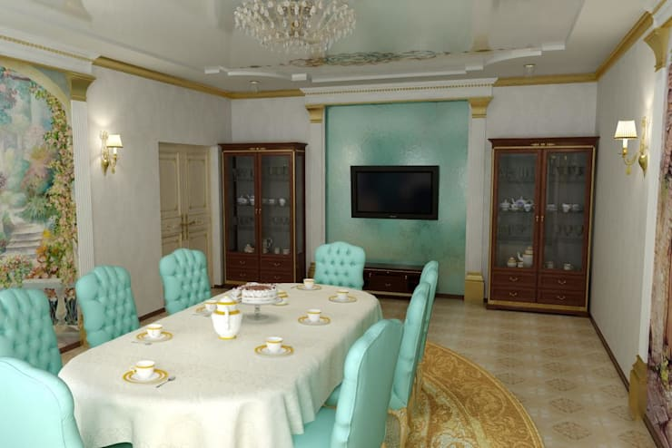 Дизайн столовой в классическом стиле.: Столовые комнаты в . Автор – Дизайн студия 'Exmod' Павел Цунев