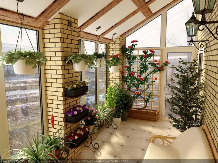 Jardines de invierno de estilo  por Дизайн студия 'Exmod' Павел Цунев