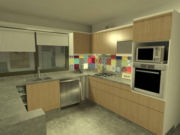 Diseño de cocina y estar para proyecto Casa Primma : Cocinas de estilo  por Estudio 17.30