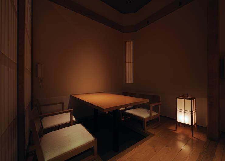 掘りごたつ席個室: 中川デザイン事務所が手掛けたレストランです。