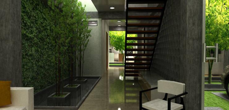 escaleras y espejo de agua:  de estilo  por Elizabeth SJ