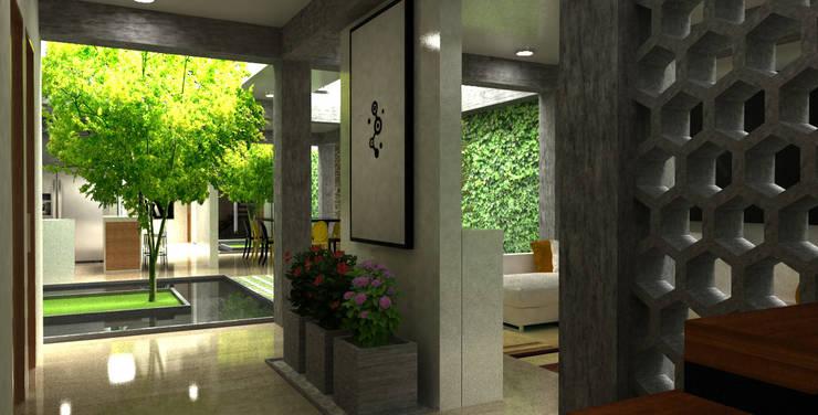 pasillo a sala de t.v:  de estilo  por Elizabeth SJ