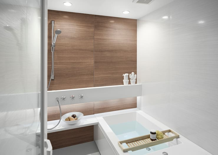 生活感を出さないシステムバスルーム「ORIZZONTE/オリゾンテ」 OZ1216OW: 株式会社 和光製作所が手掛けた洗面所&風呂&トイレです。