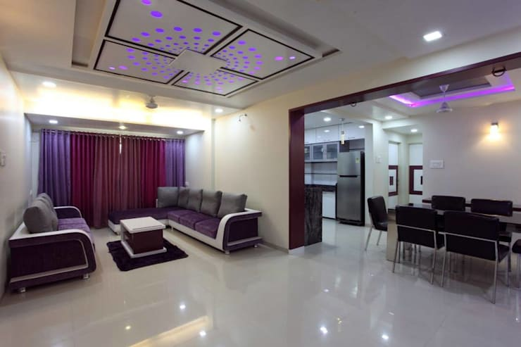 YOGESH KATARIA-VALSAD:  Living room by PSQUAREDESIGNS
