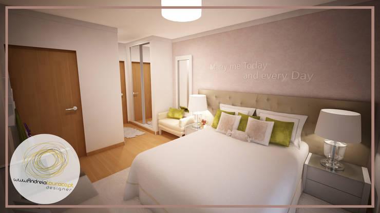 Projecto de Decoração de Suite - Moderno - Romântico - Fresco: Quartos  por Andreia Louraço - Designer de Interiores (Contacto: atelier.andreialouraco@gmail.com)