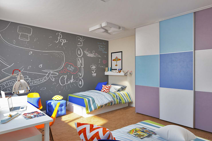 Грифельная cтена серого цвета Детские комната в эклектичном стиле от IdeasMarket Эклектичный МДФ