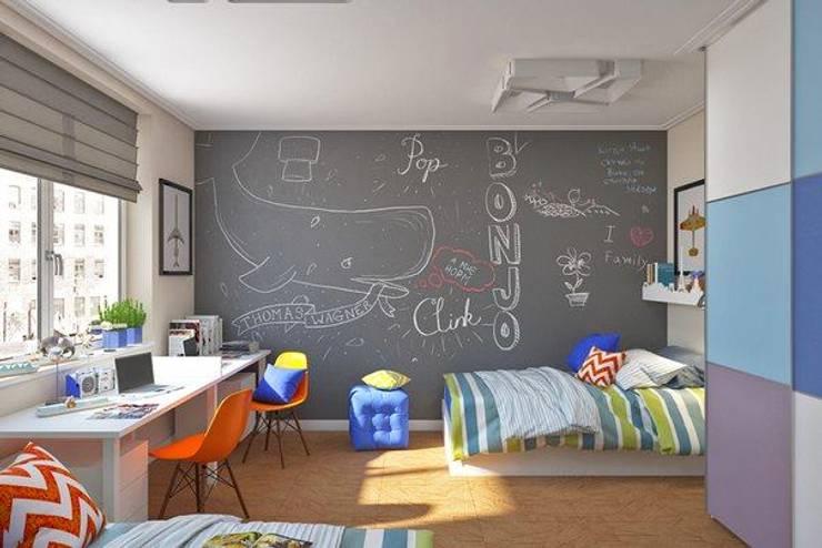Грифельная cтена серого цвета: Детские комнаты в . Автор – IdeasMarket