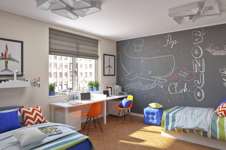 Покрытие с эффектом школьной доски во всю стену Детские комната в эклектичном стиле от IdeasMarket Эклектичный МДФ