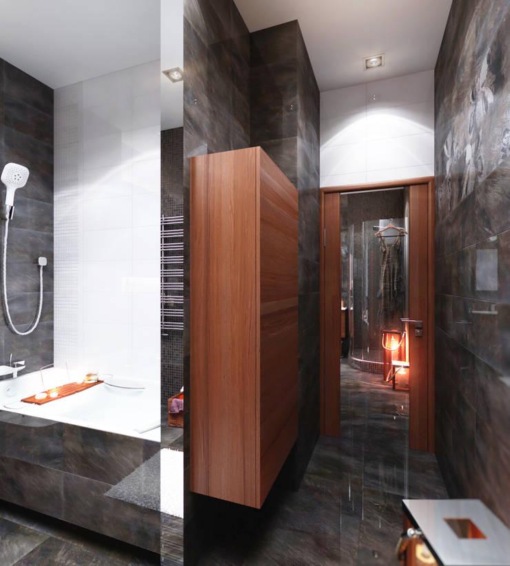 Совмещённый санузел с ванной и душевой: Ванные комнаты в . Автор – СВЕТЛАНА АГАПОВА ДИЗАЙН ИНТЕРЬЕРА,