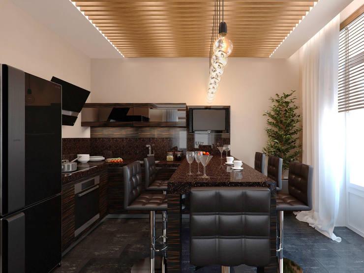 Современная гостиная с кухней в стиле Лофт: Кухни в . Автор – СВЕТЛАНА АГАПОВА ДИЗАЙН ИНТЕРЬЕРА,