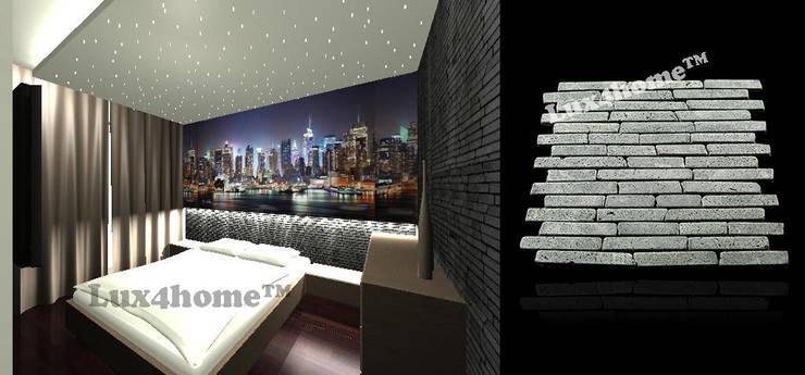 Mozaika kamienna - kamień wulkaniczny: styl , w kategorii Sypialnia zaprojektowany przez Lux4home™