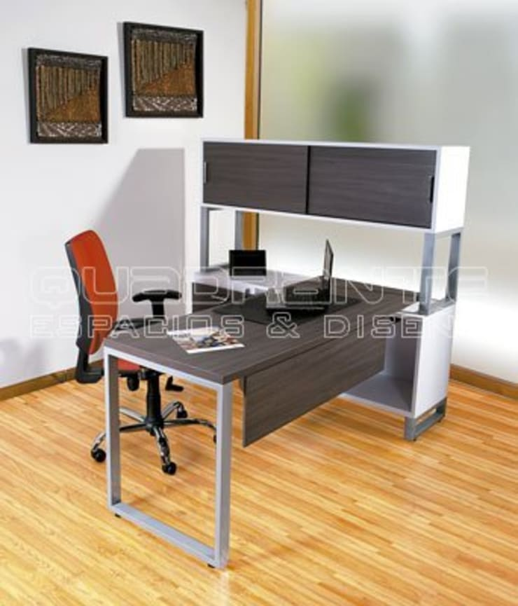 Escritorio operativo con almacenamiento: Oficinas y tiendas de estilo  por Quadrante Espacios y Diseño Ltda