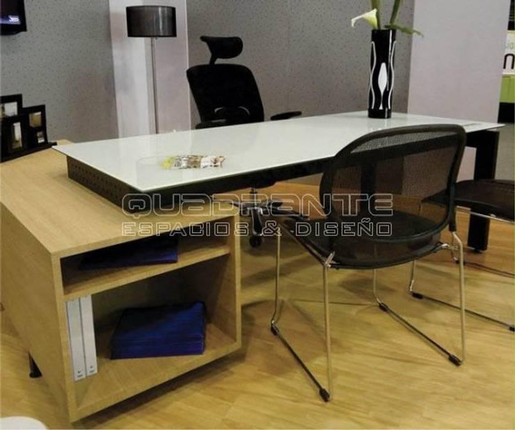 Puesto de trabajo gerencial moderno: Oficinas y tiendas de estilo  por Quadrante Espacios y Diseño Ltda