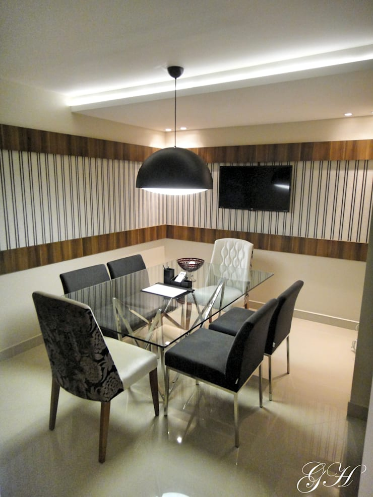 Sala de reuniões: Espaços comerciais  por Gabriela Herde Arquitetura & Design,Moderno