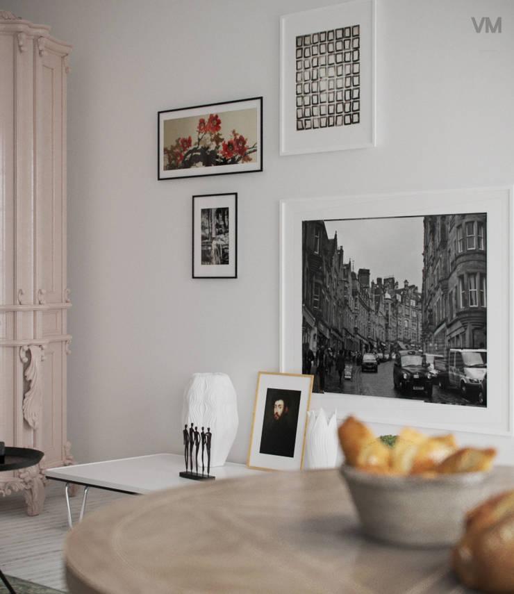 Sala Blanco & Negro: Salas de estilo  por VM Rendering