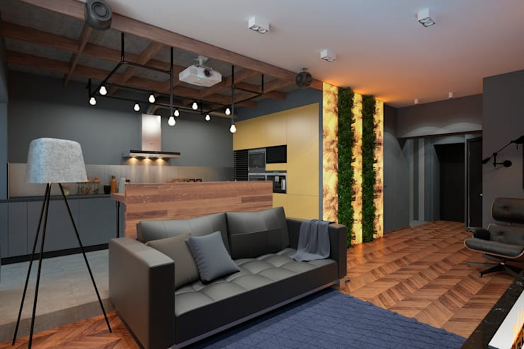 Дизайн-проект квартиры для молодого архитектора: Гостиная в . Автор – Катя Волкова, Лофт