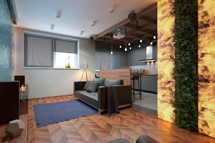 Дизайн-проект квартиры для молодого архитектора: Гостиная в . Автор – Катя Волкова