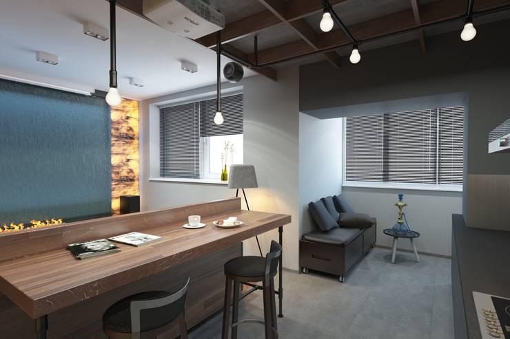 Дизайн-проект квартиры для молодого архитектора: Кухни в . Автор – Катя Волкова, Лофт
