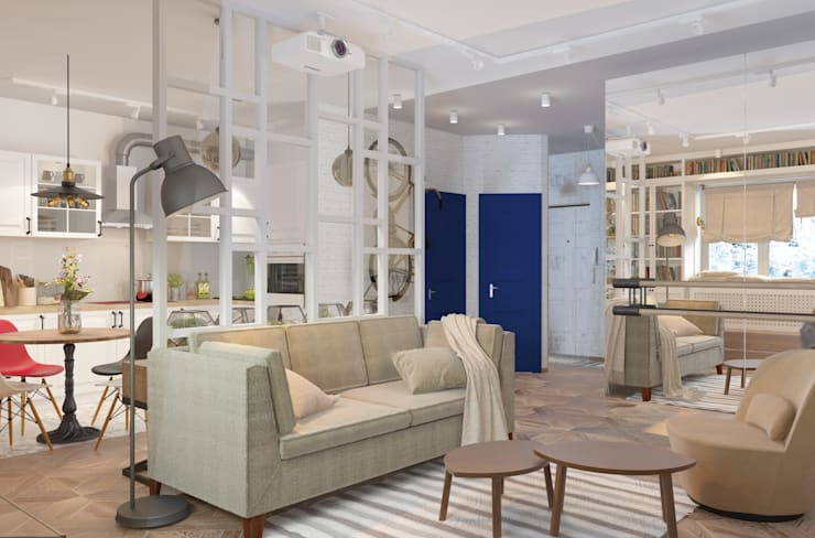Дизайн проект кухни-гостиной для молодой увлеченной танцами пары. Гостиные в эклектичном стиле от Катя Волкова Эклектичный