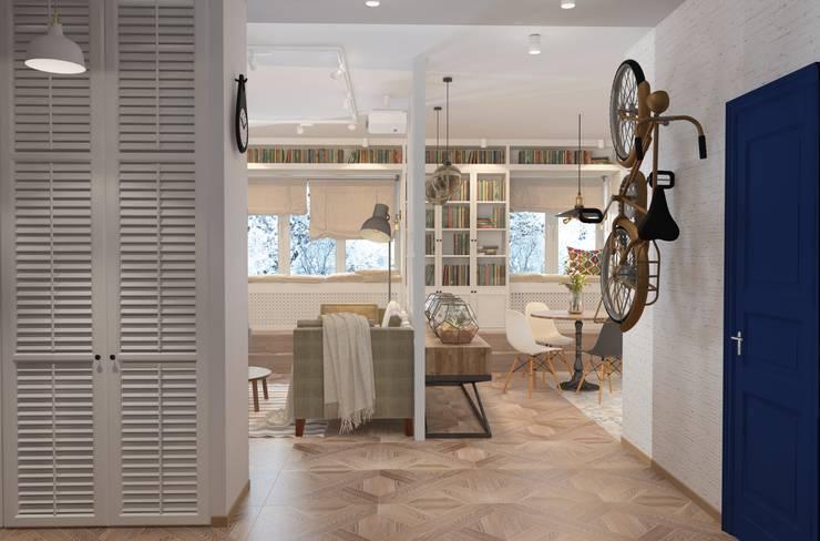 Дизайн проект кухни-гостиной для молодой увлеченной танцами пары. Коридор, прихожая и лестница в эклектичном стиле от Катя Волкова Эклектичный
