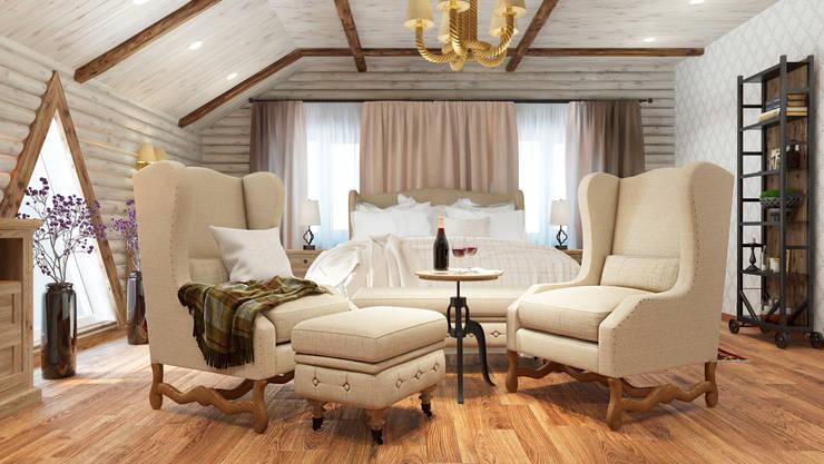 Дизайн-проект интерьера загородного дома.: Спальни в . Автор – Катя Волкова