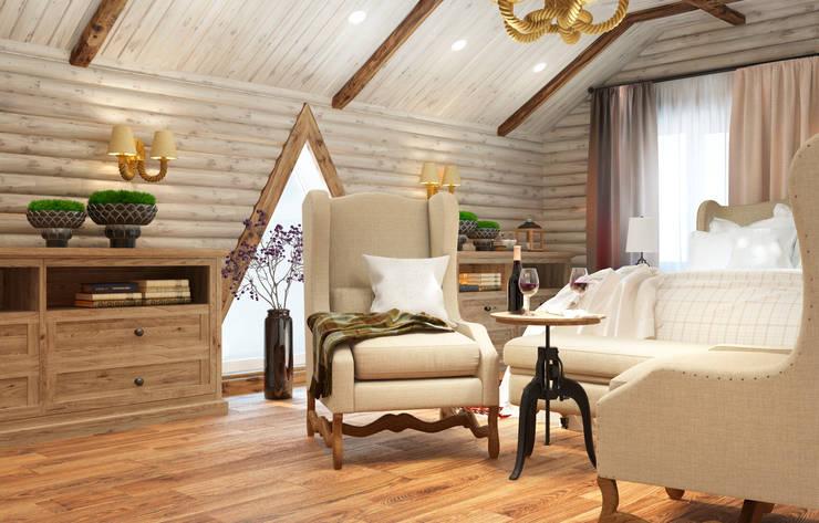 Дизайн-проект интерьера загородного дома.: Спальни в . Автор – Катя Волкова, Эклектичный