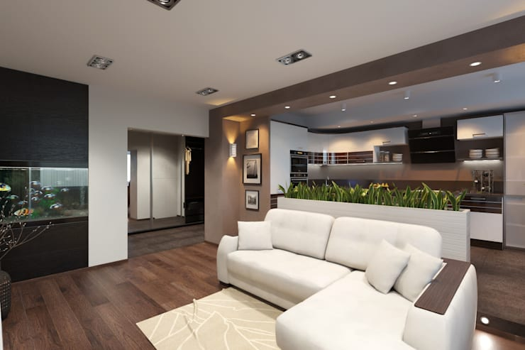 дизайн-проект однокомнатной квартиры для молодого человека.: Гостиная в . Автор – Катя Волкова, Модерн