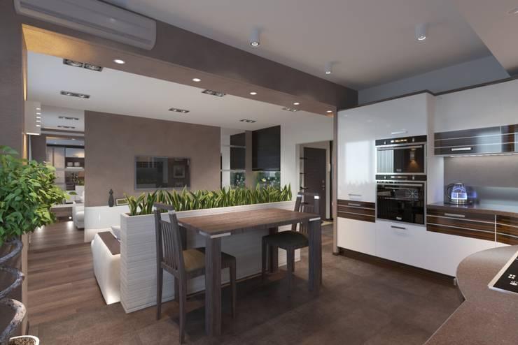 дизайн-проект однокомнатной квартиры для молодого человека.: Кухни в . Автор – Катя Волкова, Модерн