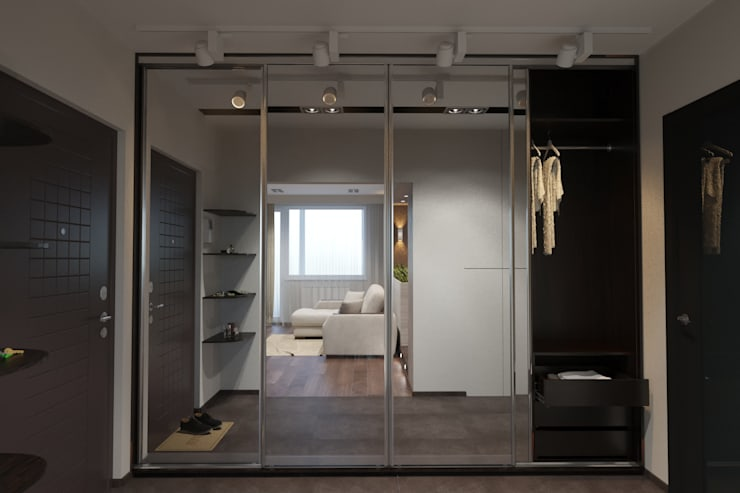 дизайн-проект однокомнатной квартиры для молодого человека.: Коридор и прихожая в . Автор – Катя Волкова, Модерн
