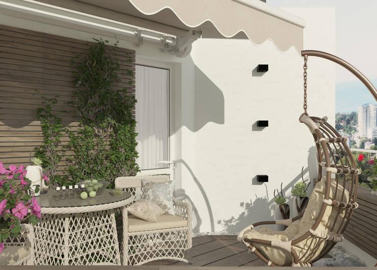 Дизайн балкона г. Сочи Балконы и веранды в эклектичном стиле от Студия дизайна Дарьи Одарюк Эклектичный