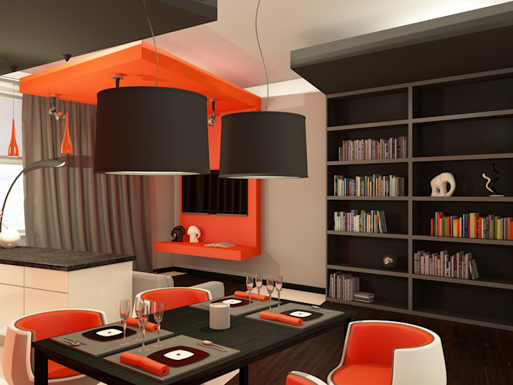 Оранжевое настроение Гостиные в эклектичном стиле от Студия Интерьерных Решений Десапт Эклектичный