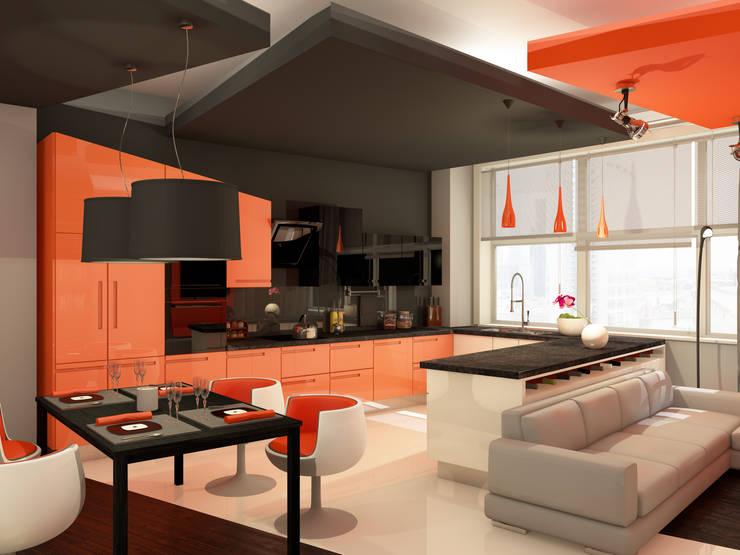 Оранжевое настроение Кухни в эклектичном стиле от Студия Интерьерных Решений Десапт Эклектичный