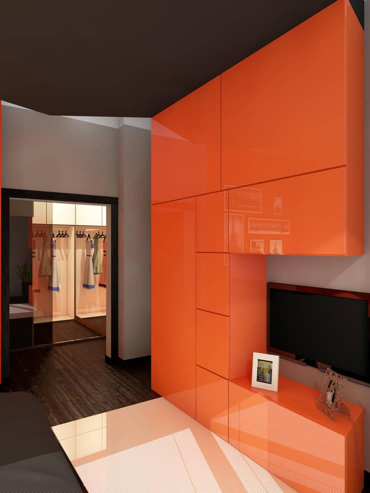 Оранжевое настроение Спальня в эклектичном стиле от Студия Интерьерных Решений Десапт Эклектичный