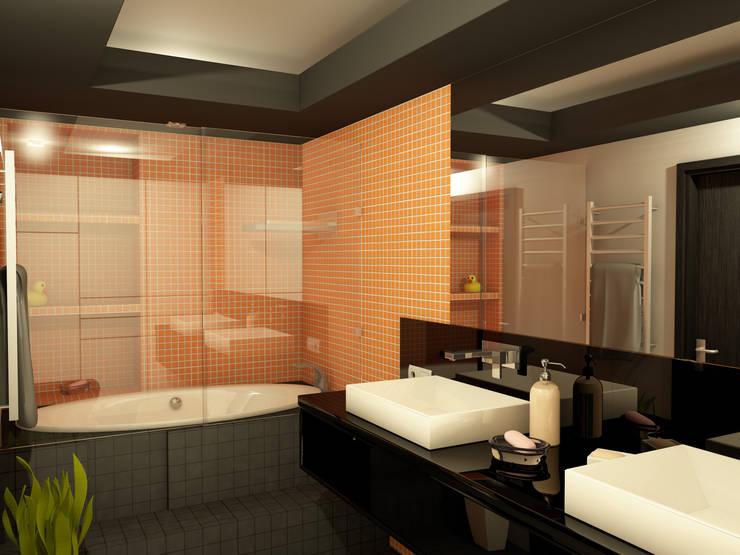Оранжевое настроение Ванная комната в эклектичном стиле от Студия Интерьерных Решений Десапт Эклектичный