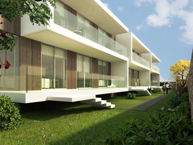 Fachada frontal: Casas de estilo moderno por Oleb Arquitectura & Interiorismo