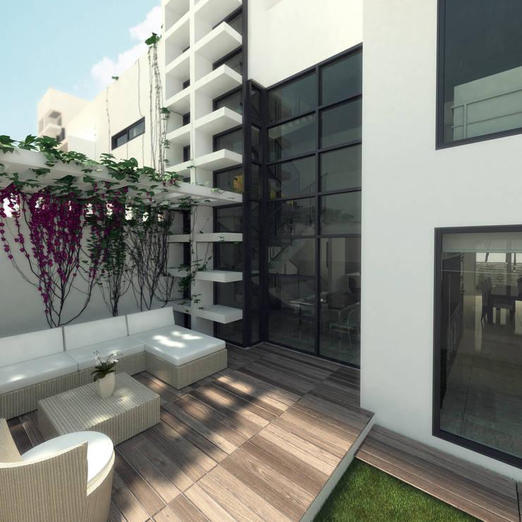 Terraza unidad de vivienda: Terrazas de estilo  por Oleb Arquitectura & Interiorismo