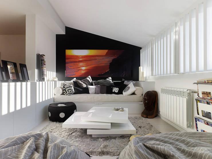 Reforma de piso en Santiago de Compostela: Salones de estilo  de Interior Zen. Obras e Proxectos