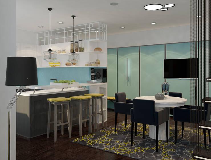 Визуализации проекта 2-х уровневой квартиры: Гостиная в . Автор – Alyona Musina, Минимализм