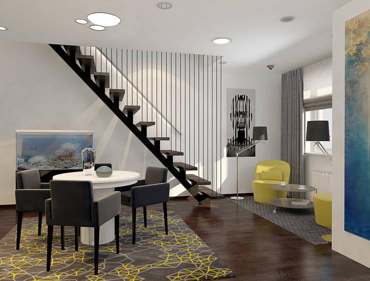 Визуализации проекта 2-х уровневой квартиры: Столовые комнаты в . Автор – Alyona Musina, Минимализм