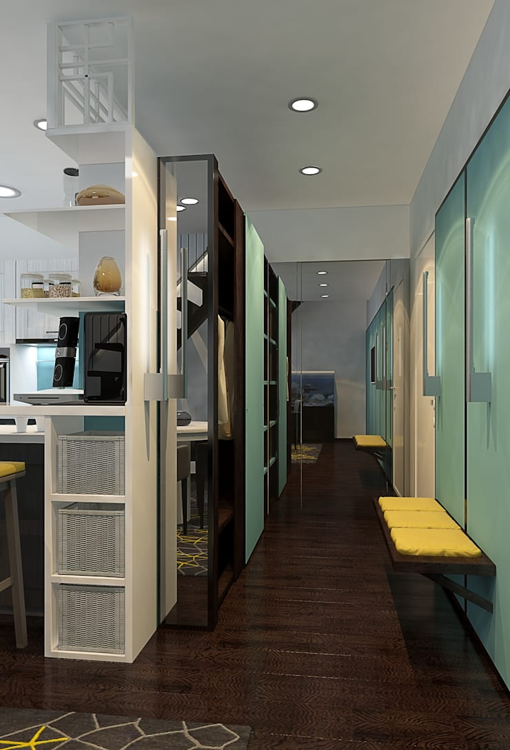 Визуализации проекта 2-х уровневой квартиры: Коридор и прихожая в . Автор – Alyona Musina, Минимализм