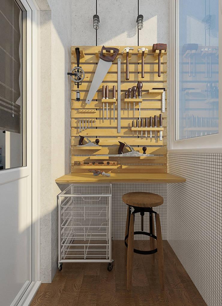 Визуализации проекта 2-х уровневой квартиры: Tерраса в . Автор – Alyona Musina, Минимализм
