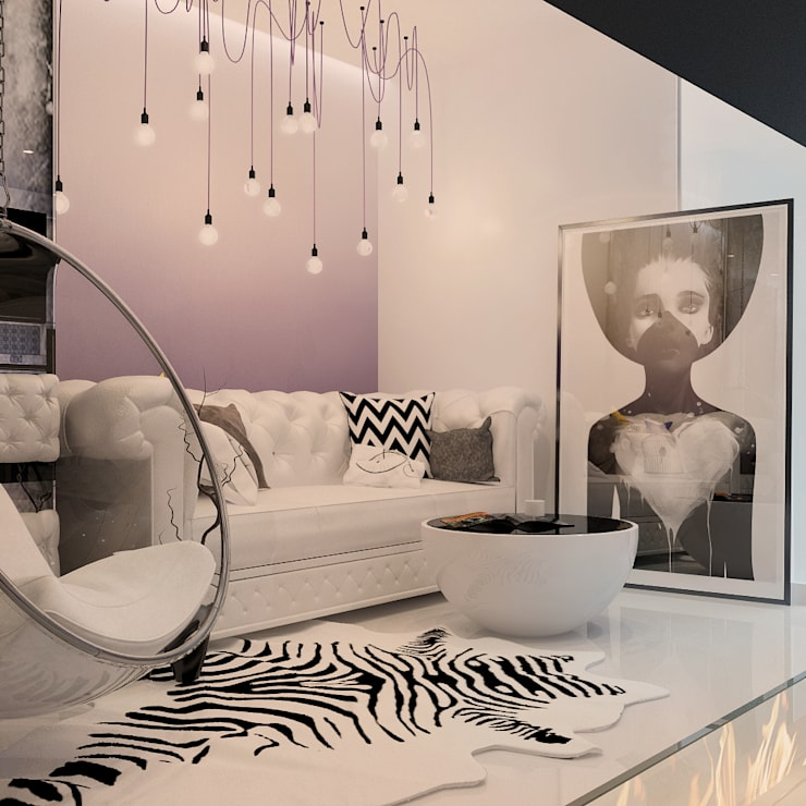 Визуализации проекта 3х комнатной квартиры: Гостиная в . Автор – Alyona Musina, Модерн