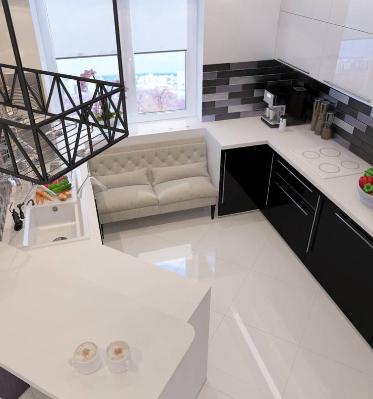 Визуализации проекта 3х комнатной квартиры: Кухни в . Автор – Alyona Musina, Модерн