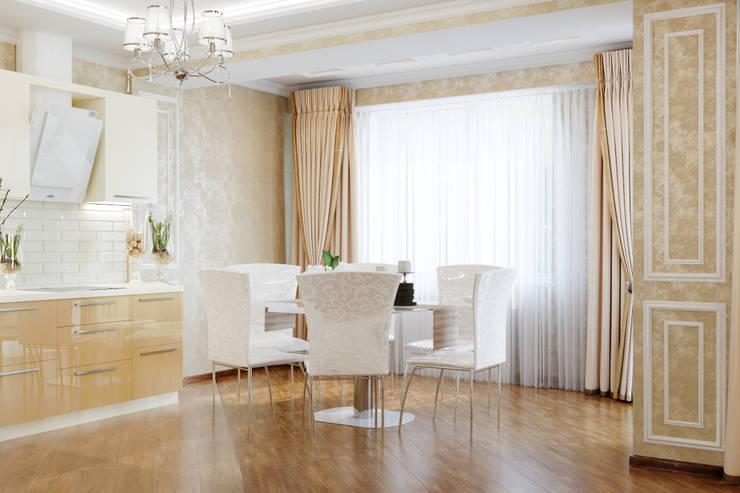 Неоклассика для кухни-столовой: Столовые комнаты в . Автор – Студия дизайна Interior Design IDEAS, Классический