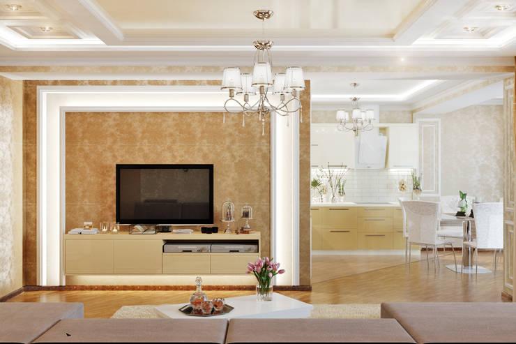Неоклассика для кухни-столовой: Гостиная в . Автор – Студия дизайна Interior Design IDEAS, Классический